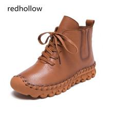 Women Winter Casual Boots Genuine Leather Soft Short Plush Warm Shoes Ladies Solid Botas Platform Ankle Boots Women Lace Up