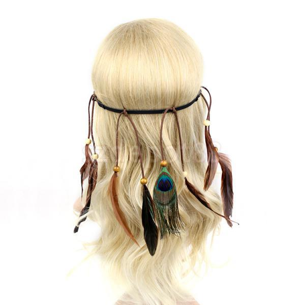 Boho Hippie Indian Feather Tassel Headband Festival Hair Band Headdress Accessory