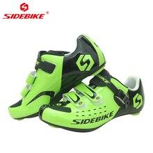 цена SIDEBIKE Self-lock Men's Bike Shoes Road Cycling Shoes Breathable Non-slip Nylon Sole Triathlon MTB Mountain Bicycle Shoes Green онлайн в 2017 году
