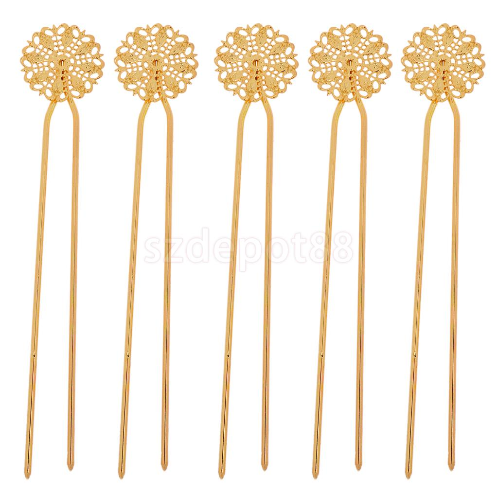 5pcs Vintage Lady Hair Clip Hairpins Headwear Accessories Floral Gold