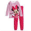 Navidad de la Historieta Impresa Niños Niñas Pijamas ropa de Noche Fija de Manga Larga Niños Niñas Pijamas de Algodón 2016 Otoño Pijamas de Las Muchachas