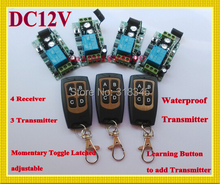 Non Latched Self Latched wireless switch RF Wireless remote control switch system 3 transmitter 4 receiver