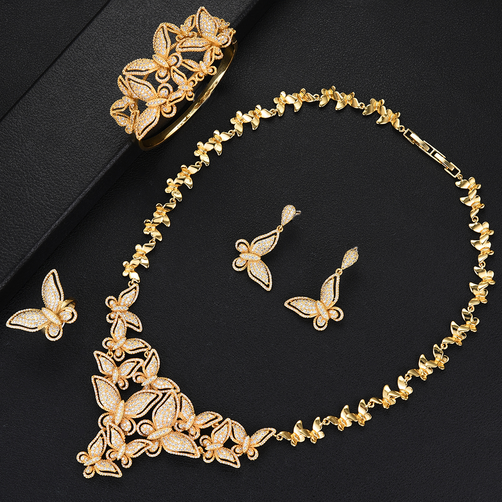 missvikki Romantic Trendy Full Butterfly Hot Necklace+Bangle+Earrings+Ring Jewelry Set for Bridal Wedding Woman Show Jewelry