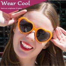 Wear Cool Vintage Sunglasses Women 2018 Oculos Lentes De Sol Mujer Heart Sun Glasses Retro Love Heart Shaped Glasses Ladies heart print glasses bag