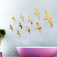10 Pcs Set 3D Fashion Acrylic Mirror Surface Wall Sticker Migratory Bird Design Removable Wall Art