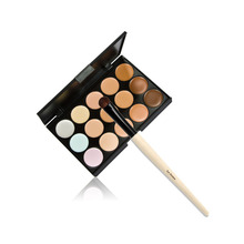New Promotion 15 Colors Makeup Camouflage Facial Concealer Palette Cream Eyeshadow Brush