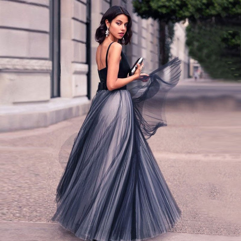 Elegant V-Neck   Evening     Dresses   Long A-Line Illusion Tulle Contrast Color Navy Blue Formal Gowns Lady Sleeveless robe de soiree