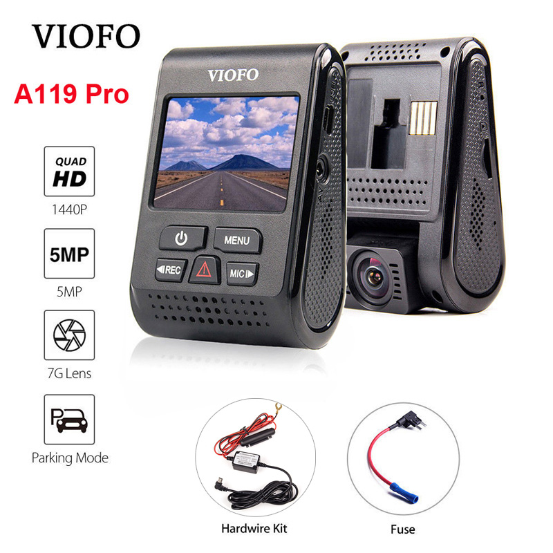 VIOFO A119 Pro Capacitor 2K 1440P Novatek 96660 AR0521 HD Car Dash Cam Video Recorder DVR +Hardwire Kit + Fuse Optional GPSVIOFO A119 Pro Capacitor 2K 1440P Novatek 96660 AR0521 HD Car Dash Cam Video Recorder DVR +Hardwire Kit + Fuse Optional GPS