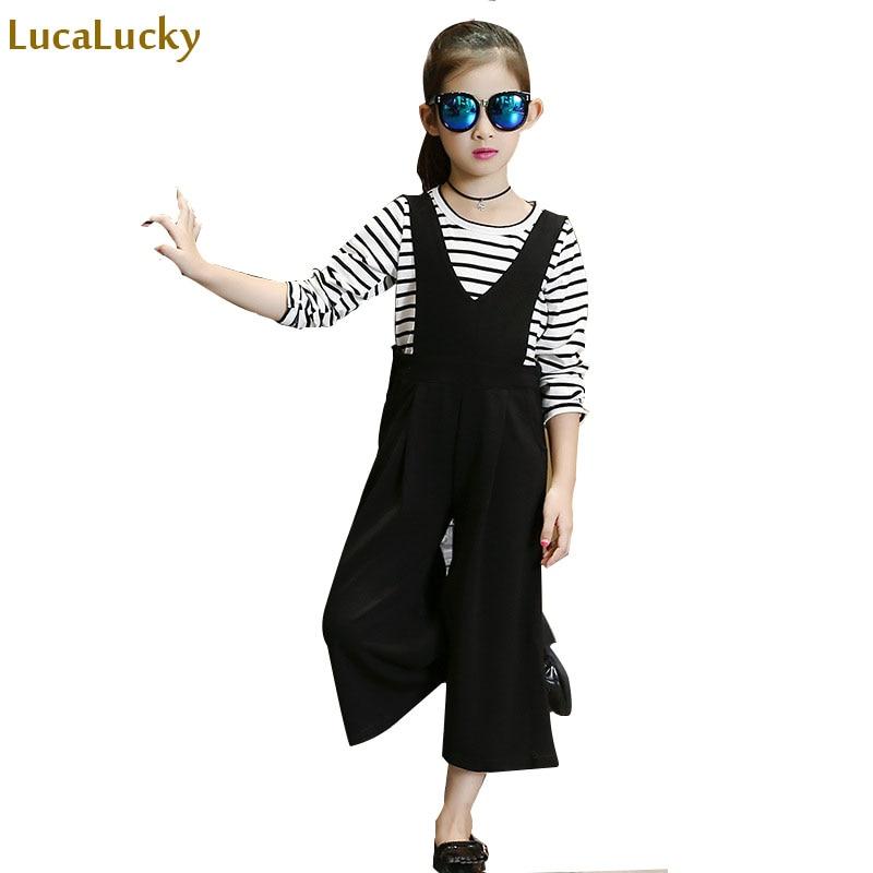 2 pcs children girls clothing sets autumn little teenage girls sport suit school kids clothes tracksuit striped tops pants set