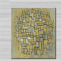 Top Koop Wall Art Piet Mondriaan Samenstelling In Bruin En Grijs voor Home Decor Enorme Canvas Olieverf Geen Ingelijst Canvas