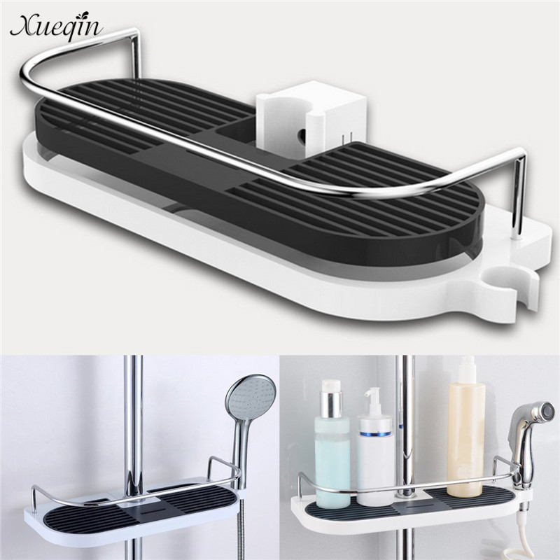 Xueqin Bathroom Shelf Shower Storage Rack Holder Shampoo Bath Towel Tray Home Bathroom Shelves Single Tier Shower Head Holder xueqin retro style bathroom towel rack cast iron towel rail holder hanging shelves clothes hanging home storage hanger
