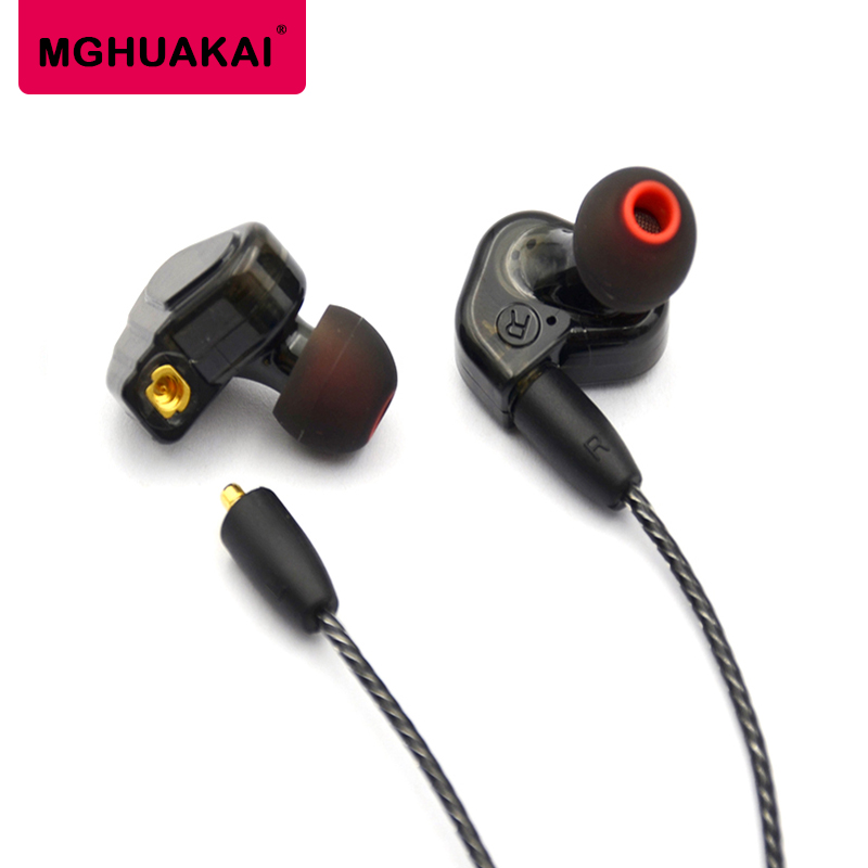 MGHUAKAI New Double Earphone Dynamic Two Unit Drive DIY In Ear Earphones HIFI Bass Subwoofer Headset with DC Interface Cable transparent color double dynamic earphone 2 unit driver hifi bass with microphone audio cable headphone high quality headset