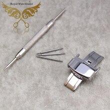 10 mm 12 mm 14 mm 16 mm 18 mm 20 mm 22 mm New argent déploiement fermoir papillon boucle en acier inoxydable poli bracelet en cuir bande