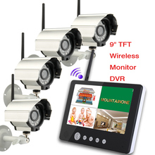 "Digital Camera with 9"" LCD Monitor DVR Wireless Kit Home CCTV Security System 4pcs 380 TV line Cameras 903D14"
