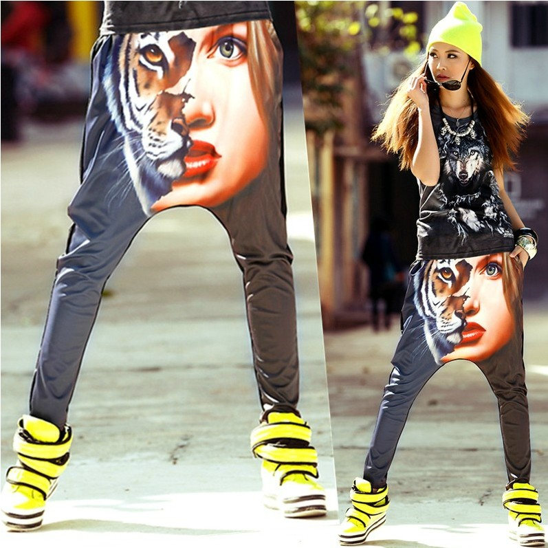 2014 New fashion Hip Hop Dance skinny Pants Sweatpants Costumes tiger head Print animal stage performance wear harem trousers