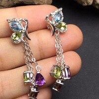 Fine Jewelry Real 925 Sterling Silver 100 Natural Topaz Garnet Citrine Gemstones Female Earrings For Women