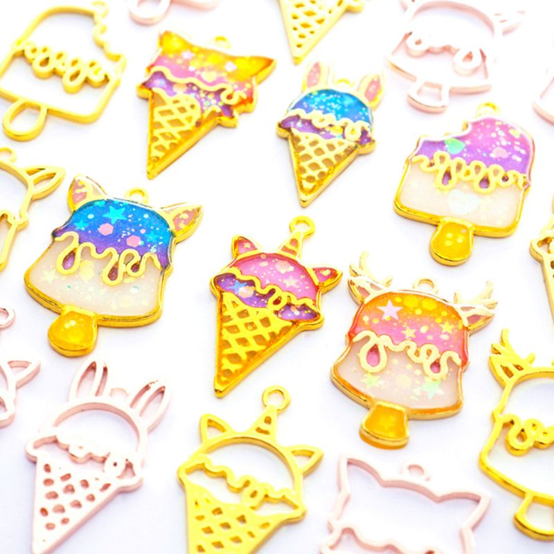 12 Pcs set Ice Cream Popsicle Alloy Border DIY Handmade Crystal Epoxy Glue UV Mold Metal Frame Jewelry Accessories Material Set in Jewelry Tools Equipments from Jewelry Accessories