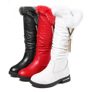 Image 4 - Детские сапоги; Сапоги из натуральной кожи для девочек; Зимние модные сапоги martin до колена; Бархатная теплая обувь принцессы с кроличьим мехом
