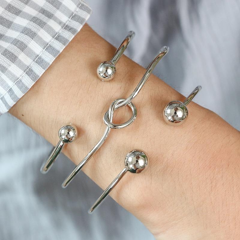 HuaTang 3pcs/set Trendy Silver Color Open Bracelet Geometric Bangles Gift for Women Girl Bracelet Jewelry Statement 6136