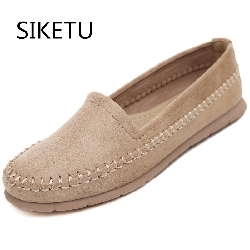 цена SIKETU New fashion soft women Loafers Platform Lovely girl flat shoes Slip on College style Shoes 4 colors driving shoes онлайн в 2017 году