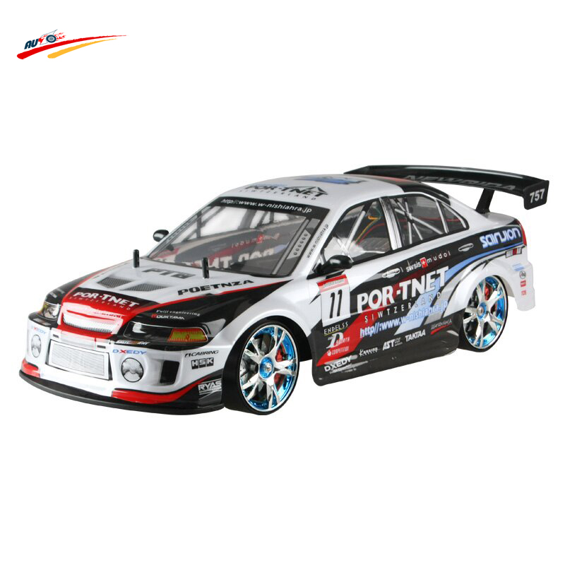 RC Car 2.4G 1/10 High Speed Racing  Mitsubishi 4 Wheel Drive Radio Control Sport Drift  electronic toy Vehicles  Monster Buggy dongxin mercedes benz sl65 speed remote control steering wheel 1 18 car drift charge black