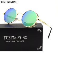 TUZENGYONG Fashion Polarized Sunglasses Men/Women Round Metal Carving Vintage Sun Glasses Gothic Steampunk Sunglass