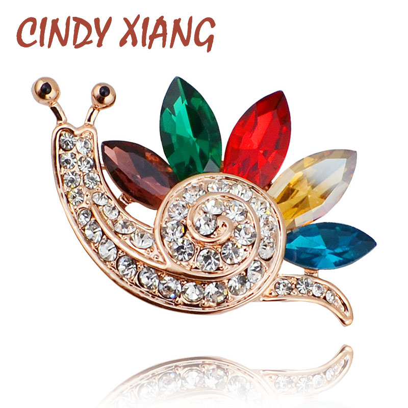 Rhinestone Snail Brooches For Women Cute Insect Brooch Pin Fashion Enamel Pins