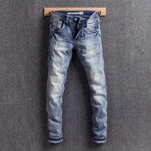 Vintage Designer Men Jeans Blue Color White Wash Slim Fit Ripped Jeans Men Printed Elastic Denim Pants Fashion Classical Jeans цена 2017