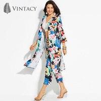 Vintacy 2017 Vacation Women Summer Trench Coats Floral Gray Trench Coat Belt Trench Women Coats Office