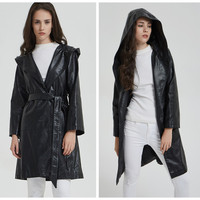 Women Faux Leather Coat Long Trench PU Coats Hooded Windbreaker Office Lady Winter Black Greatcoat with Sashes Fashion Overcoat