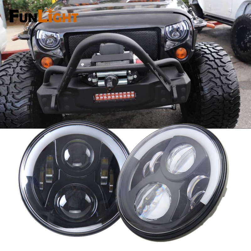 7 Round LED Headlight for Jeep Wrangler JK Headlamp With Halo Angel Eye & Turn Signal Lights & DRL switch for jeep wrangler rocker switches for jeep wrangler jk