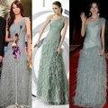 Длинная вечернее платье официальный платья одно плечо серый перо платье складки минимальный уровень длина платье ну вечеринку пром платья
