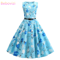 Bebovisi новая женская одежда 2019 летние синие платья повседневные элегантные офисные с цветочным принтом винтажные платья бандаж большого раз...