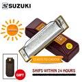 [12 Keys] Suzuki Diatonic Harmonica 1072 New Silver FolkMaster Gaita Standard 10 Hole Diatonic Harmonica Beginner Blues Harp