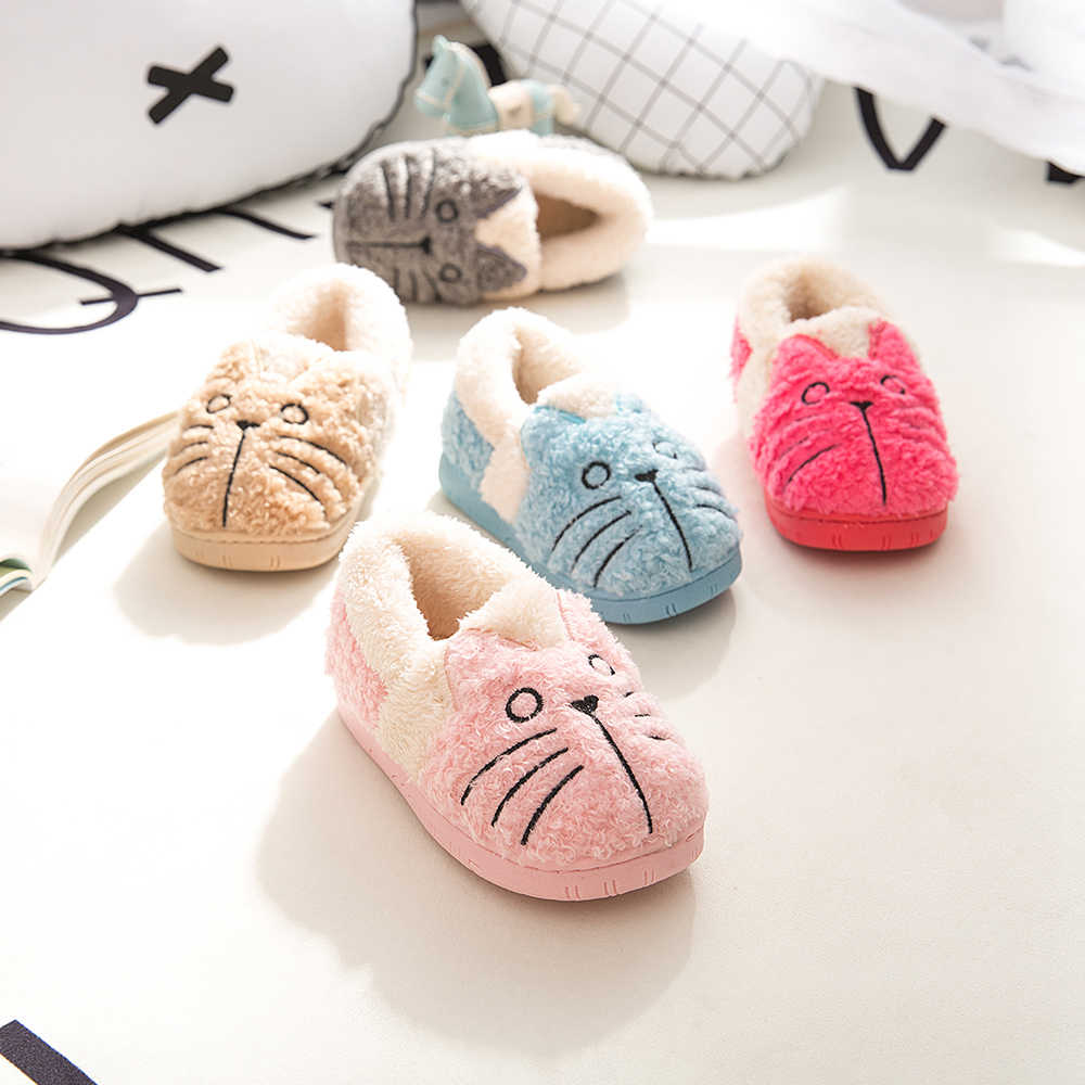 Dropshipping New Toddler Baby Home Slippers Girls Cute Cartoon Cat Cotton Shoes Winter Children Keep Warm Slippers