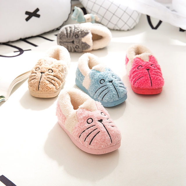 Dropshipping New Toddler Baby Home Slippers Girls Cute Cartoon Cat Cotton  Shoes Winter Children Keep Warm Slippers 1edb8341a1fb