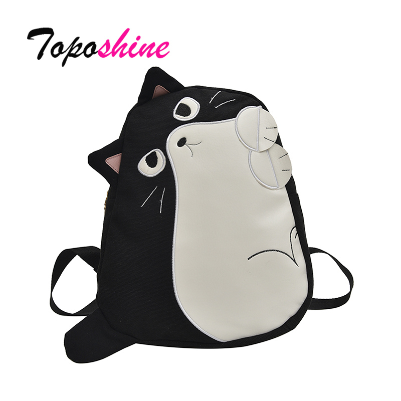 Toposhine Canvas Cat Women's Backpack 2019 New Black Women School Backpacks High Quality Travel Bag Personality Student Bags