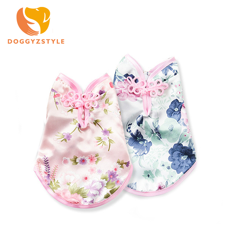 Chinese Tang Suit Dog Clothes Summer Pet Dog Vest Cat Clothing Chihuahua Puppy T-shirt Small Pet Costume T-shirt DOGGYZSTYLE