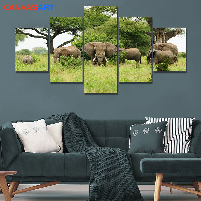 Canvas Art Piece HD Pictures African jungle Elephant Wall Pictures for Living Room Canvas Framed Cuadros Decoracion Dormitorio(China)