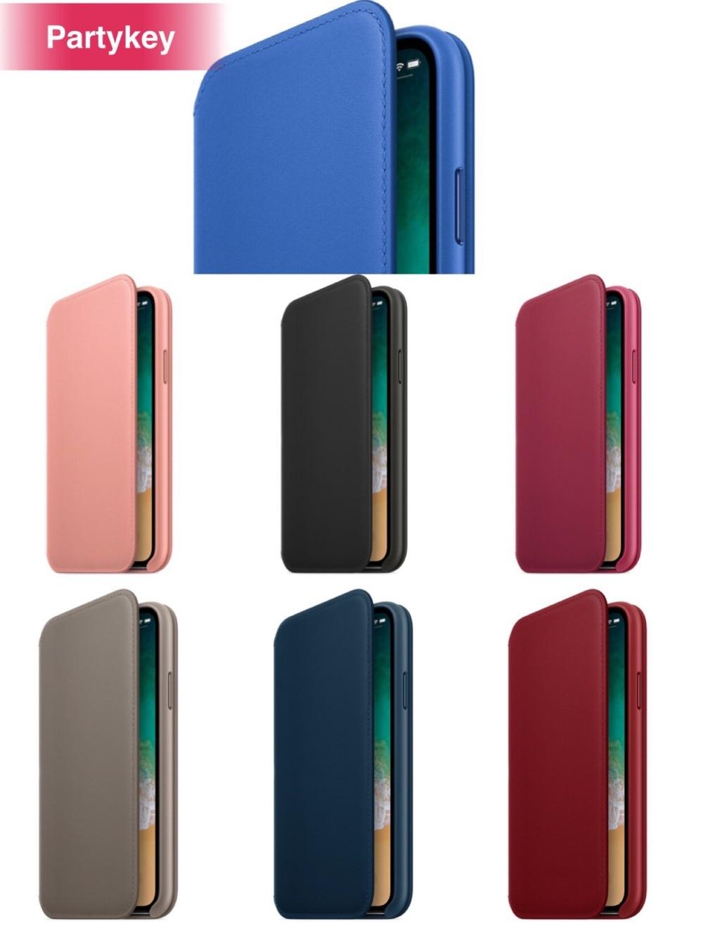 Con el paquete al por menor Original con logo oficial caso de cuero folio para iPhone X 7 8 6 i6s Plus funda cubierta coque caso de lujo
