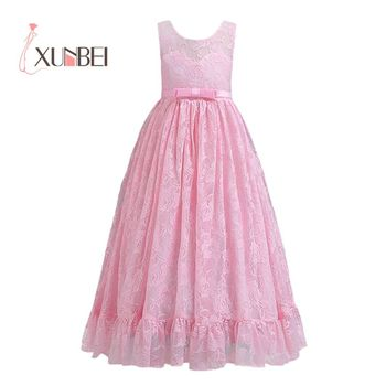 Princess  Lace Flower Girl Dresses 2020 Princess Girls Pageant Dresses Children Wedding  Cocktail Prom Party Gown For Women New infant toddler pageant cute princess girls sequins flower party dress gown bridesmaid prom dresses