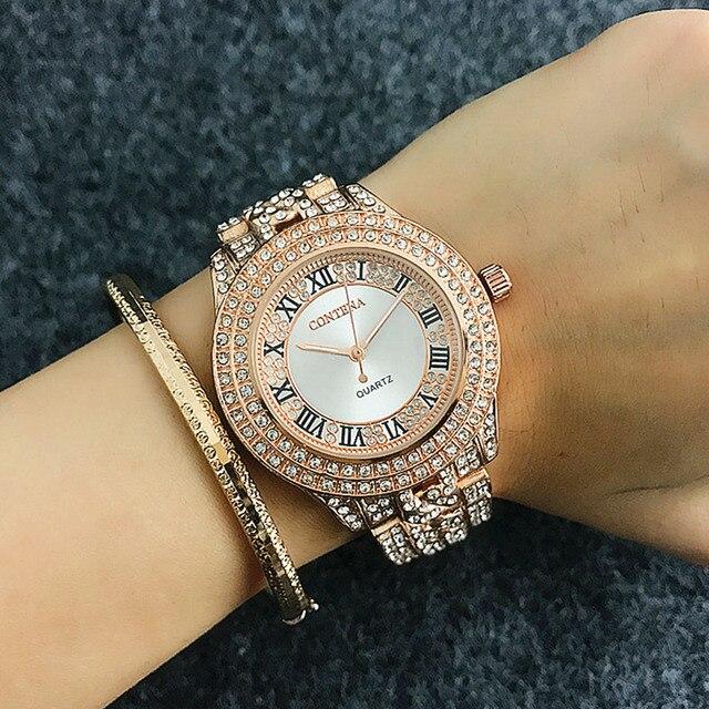 CONTENA Lüks Tam Göz Kamaştırıcı Rhinestone Bayanlar Izle Moda Kraliyet Tasarım Kristal Bilezik Kadınlar Kol Saatleri Femme reloj mujer