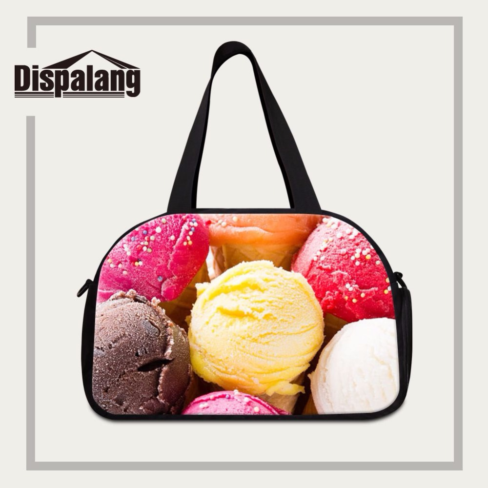 Dispalang new arrival unisex travel handbags ice cream print luggage travel bags for girls custom travel duffel independent shoe