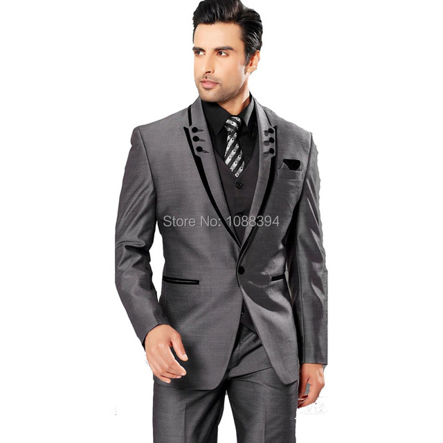 Best Selling 2017 Gray Mens Business Suit One Button Groom Tuxedos