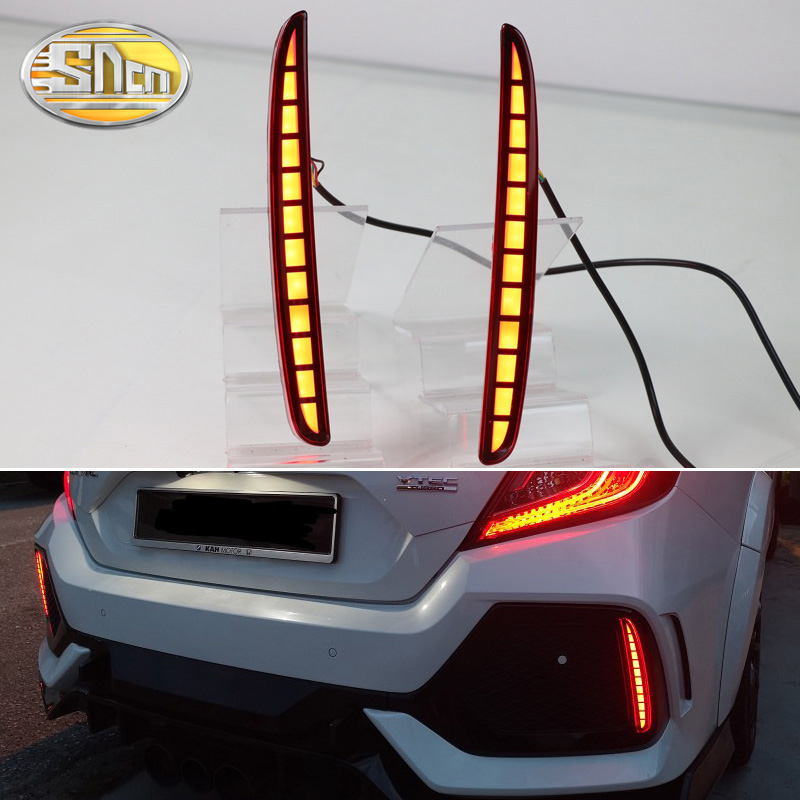 2PCS For Honda Civic Hatchback 2016 2017 2018 Multi-function LED Rear Bumper Light Rear Fog Lamp Auto Bulb Brake Light Reflector