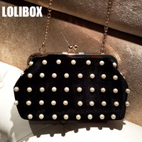 LOLIBOX Women Bags Korean Velvet Hand-beaded Imitation Pearl Clip Clutches Women Chain Shoulder Bags Women Messenger Bags