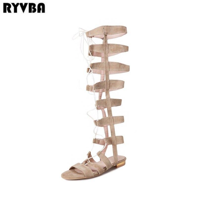 RYVBA 2018 womens knee high boots women low heels thigh high summer sandalias woman nubuck flats sandals ladies corss tied shoes