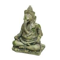Aquarium Artificial Elephant Head Buddha Decoration Ancient Gods Sitting Statue Crafts For Fish Reptile 10x11 5x16