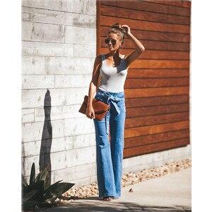 Image 4 - Jeans svasati in vita con cravatta blu pantaloni Slim in Denim da donna abiti Vintage 2019 pantaloni a vita alta primavera Jeans elasticizzati con cintura a gamba larga