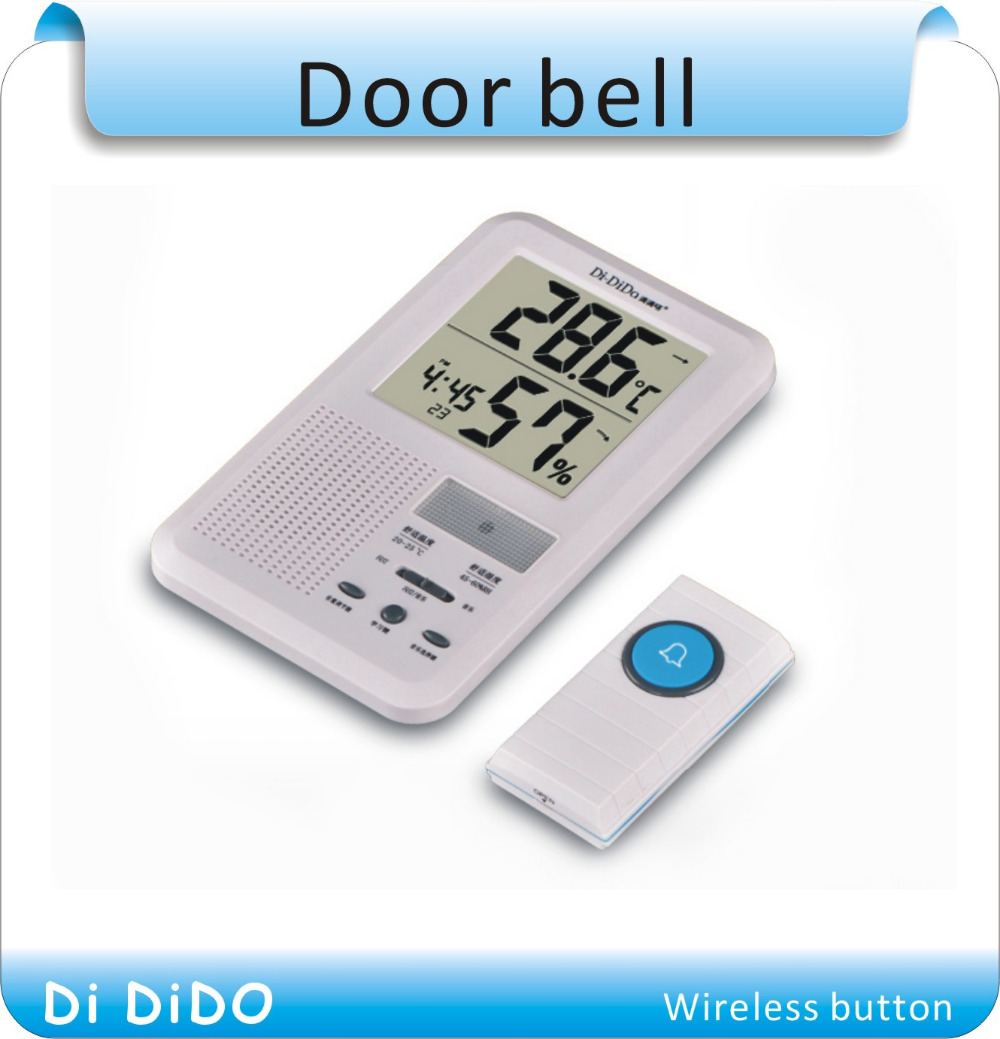 Free shipping  Multifunctional LCD Calendar Panic Alarm Clock Wireless Door Bell Transmitter Receiver Door Chime Door Bell bag khs075vg1ba g83 38 29 lcd calendar